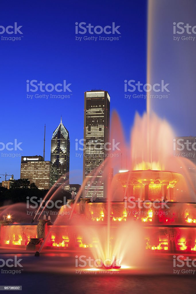 Close up of Buckingham Fountain in Chicago royalty-free stock photo