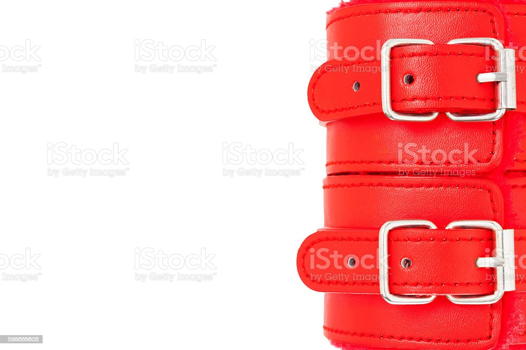 Close up of buckle belts on a BDSM leather. stock photo