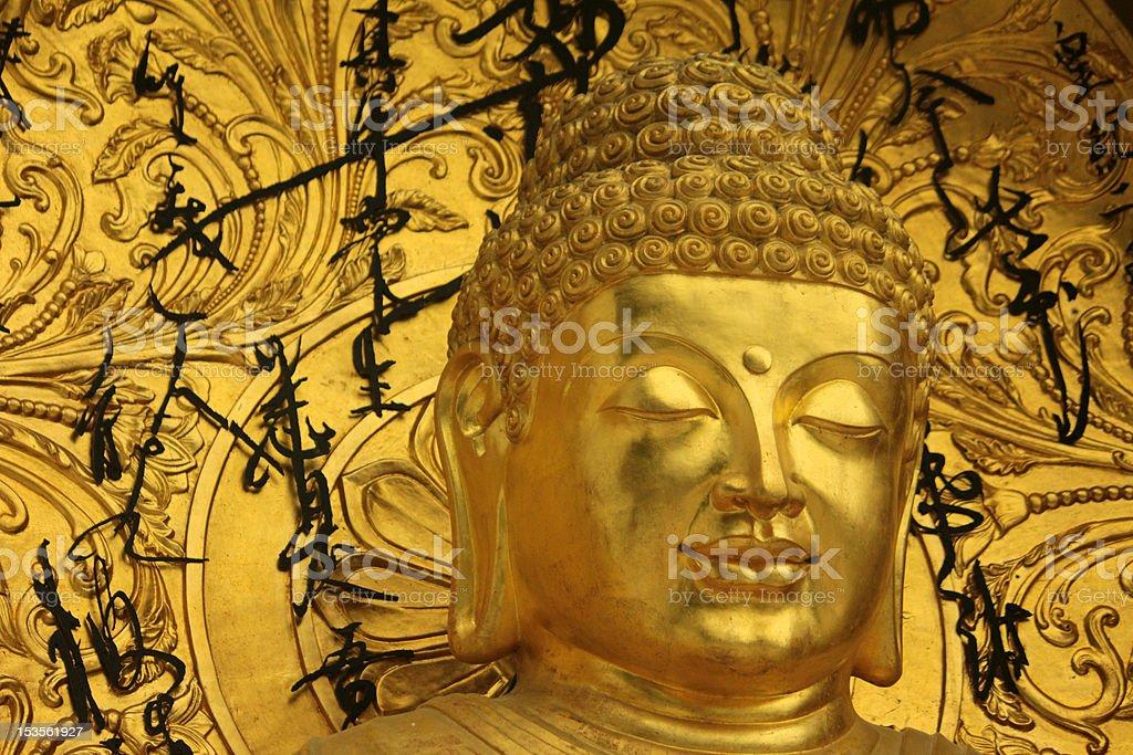 close up of buddha at shanti stupa in darjeeling royalty-free stock photo