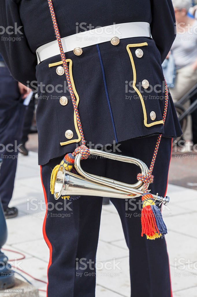 Close up of bugler in uniform royalty-free stock photo