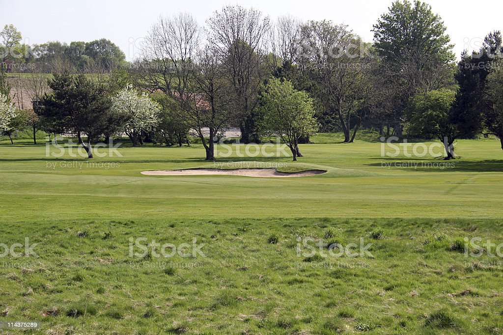 Close up of bunker on Golf Course stock photo