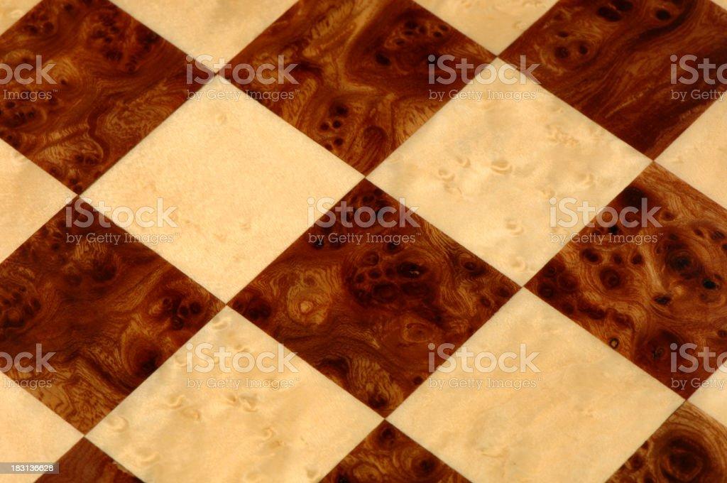 Close Up of Burlwood Chessboard stock photo