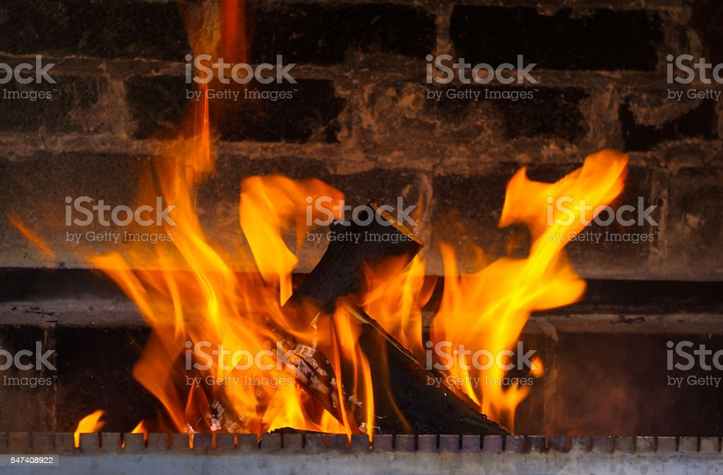 close up of burning fireplace at home stock photo