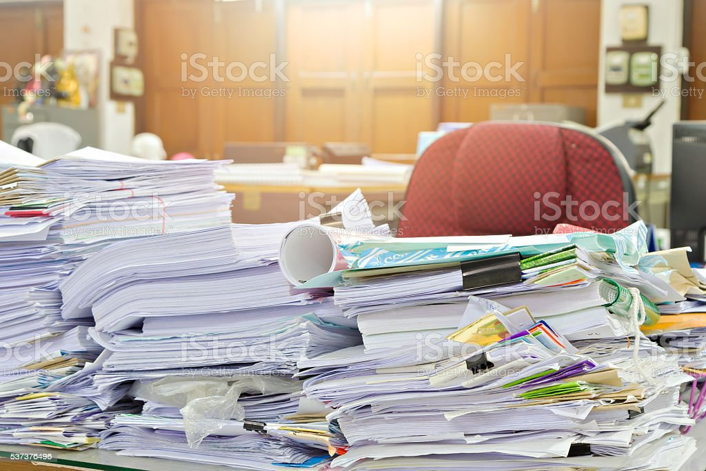 Close up of business documents stack on desk stock photo