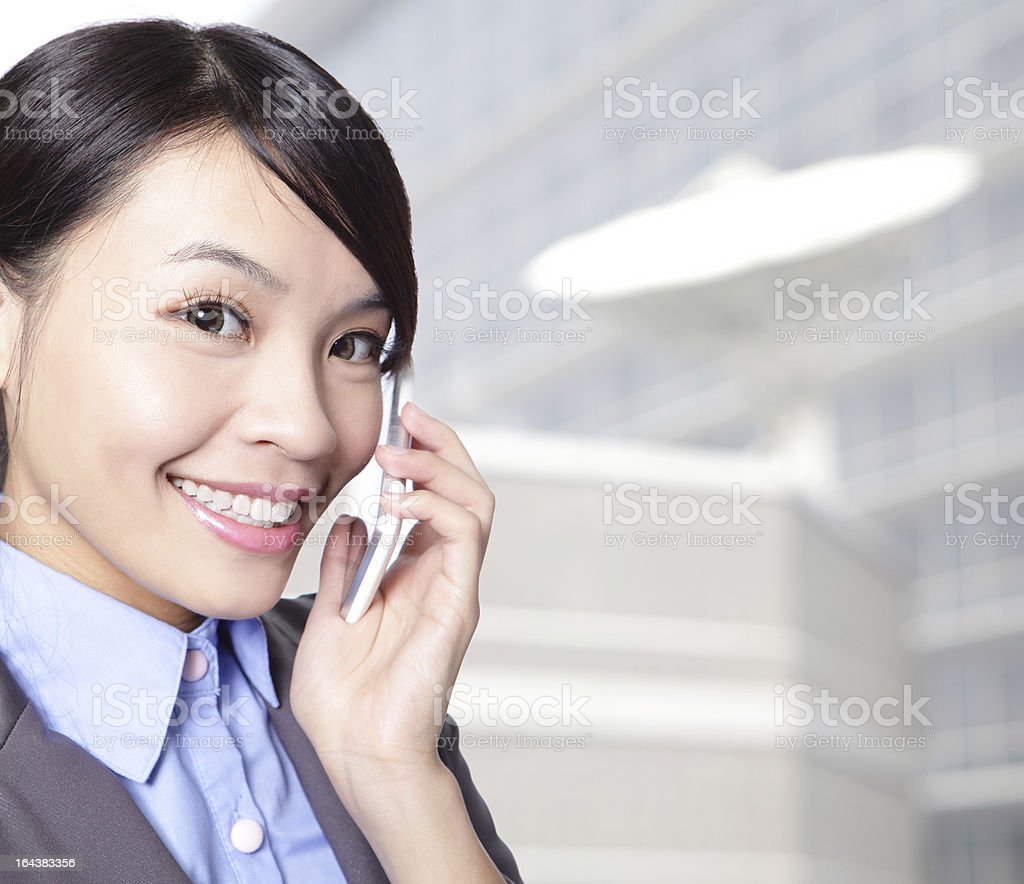 close up of business woman talking phone royalty-free stock photo