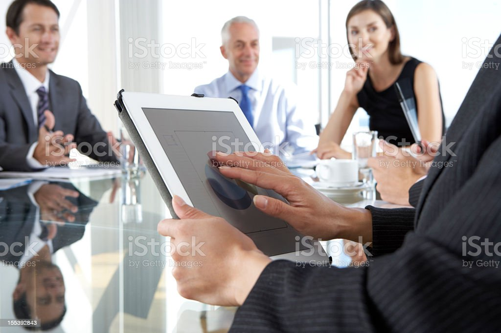 Close Up Of Businesswoman Using Tablet Computer During royalty-free stock photo