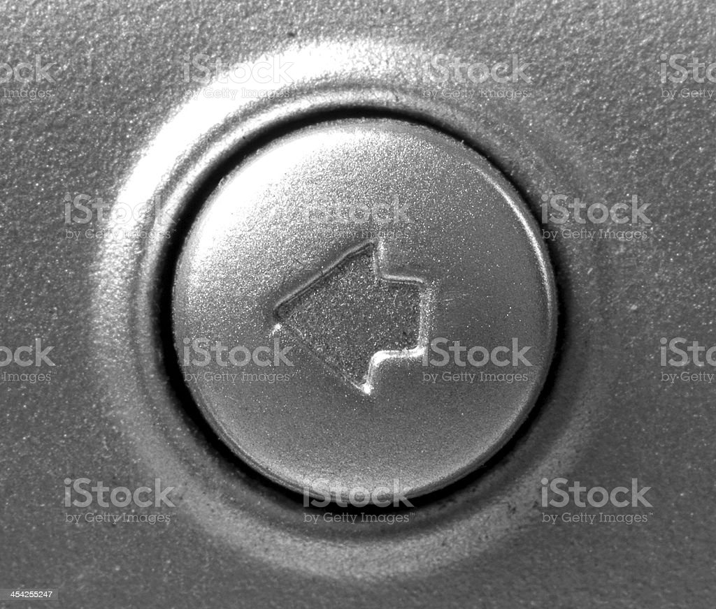 Close up of button with arrow left royalty-free stock photo