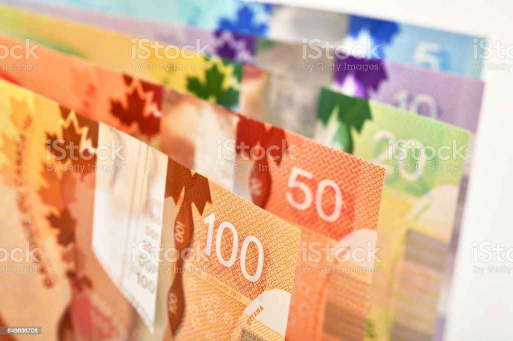 Close up of Canadian banknotes (CAD) background stock photo