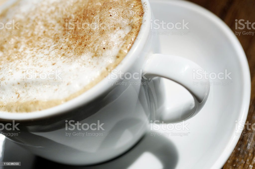 close up of cappuccino foam coffee milk froth in cup royalty-free stock photo
