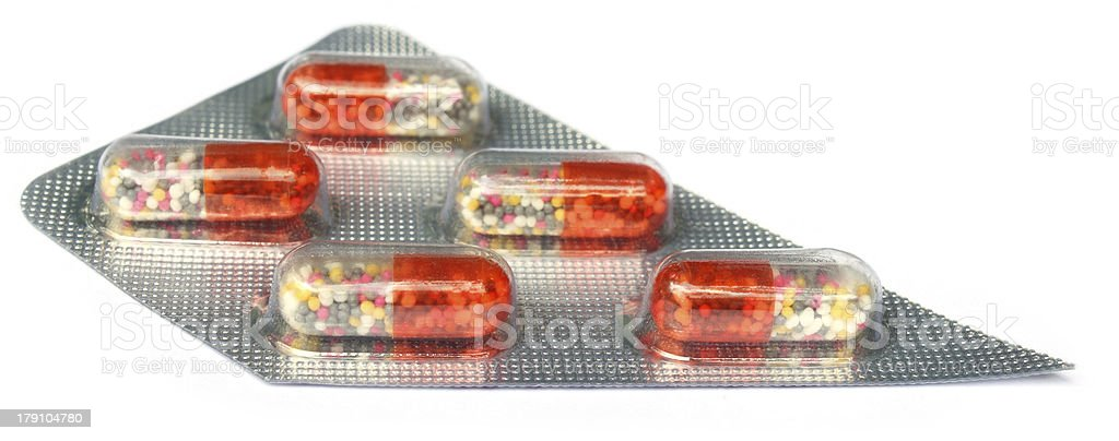 Close up of capsules in strip stock photo