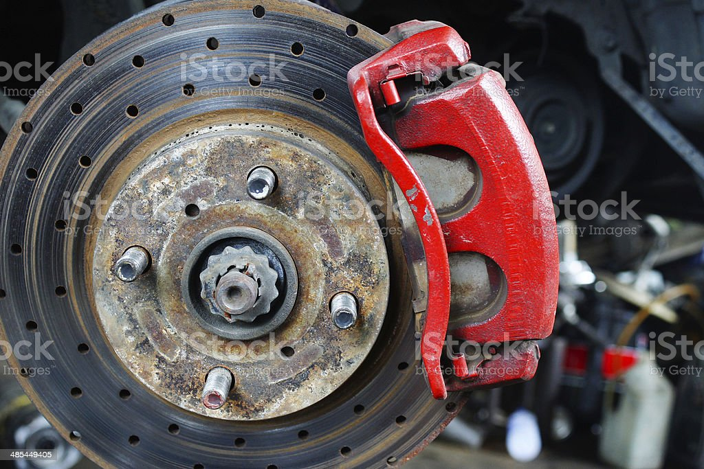 Close up of car brake stock photo