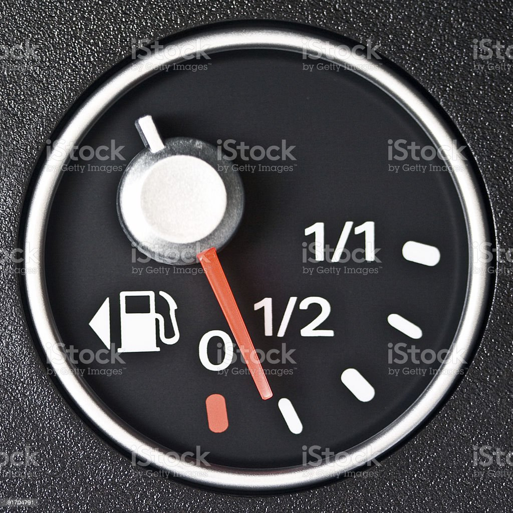 Close up of car fuel meter stock photo