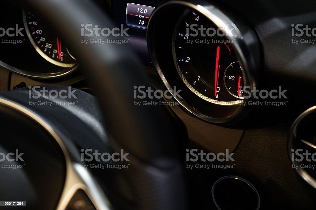 Close up of car speedmeter. stock photo