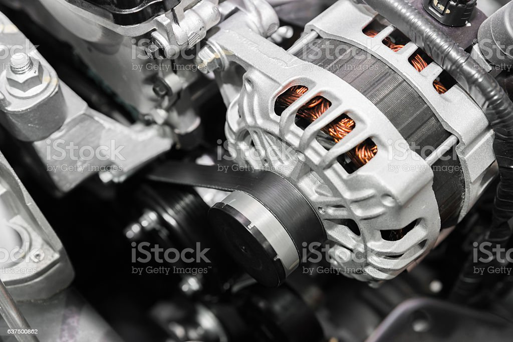 Close up of car timing belt in modern car. stock photo