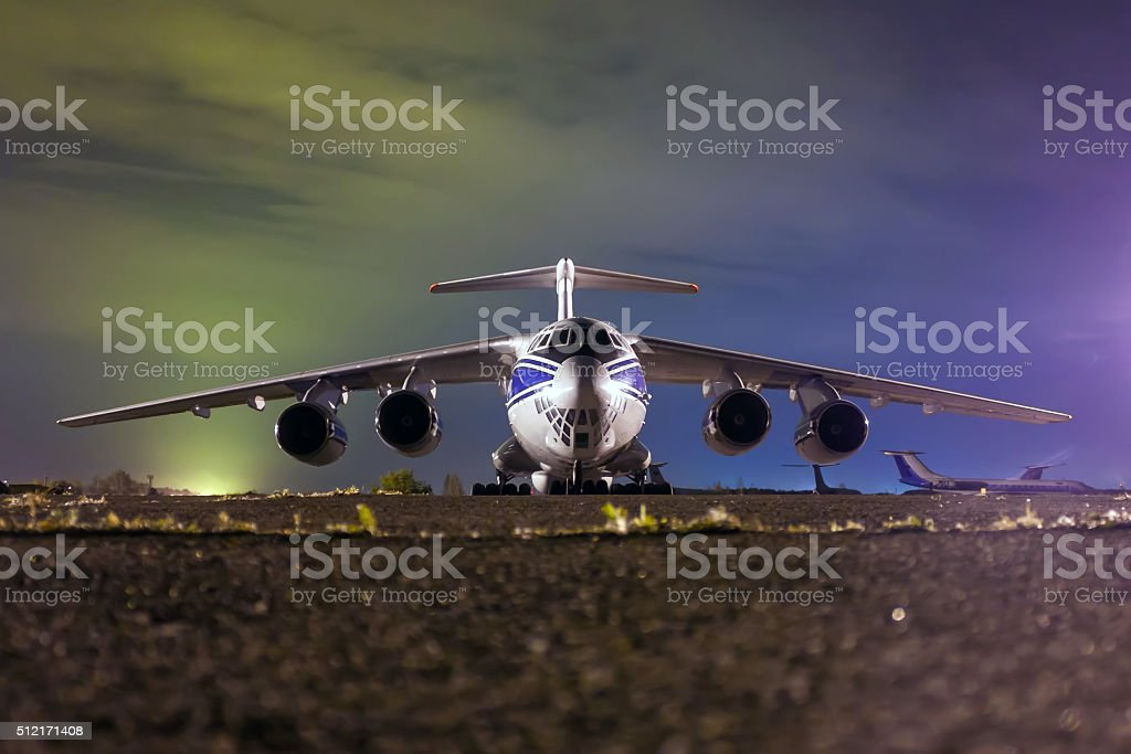 Close up of cargo airliner in the night royalty-free stock photo