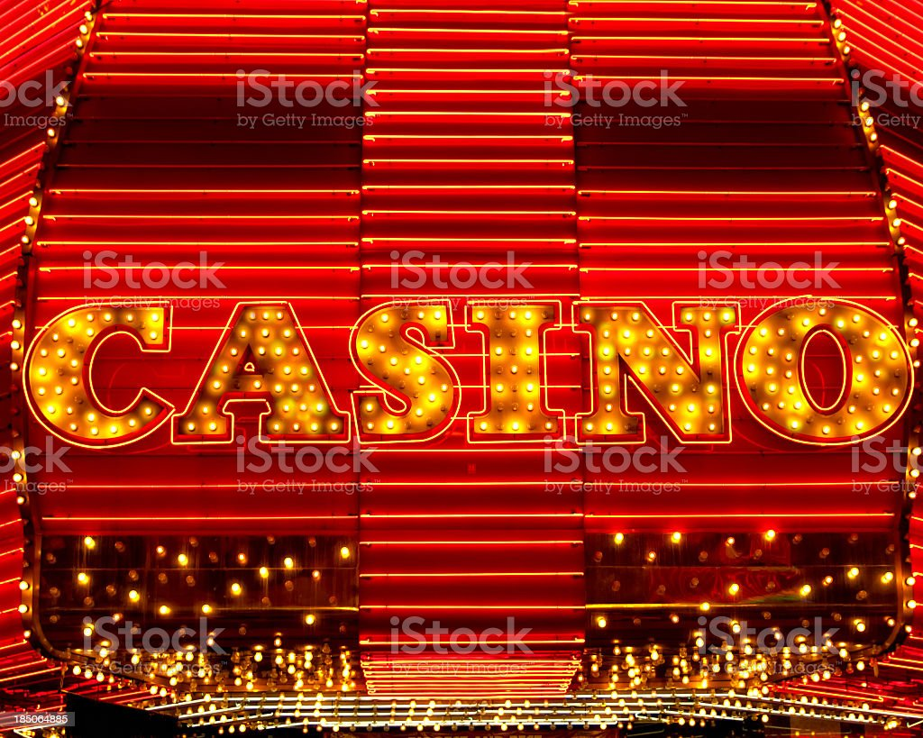 Close up of casino marquee sign stock photo