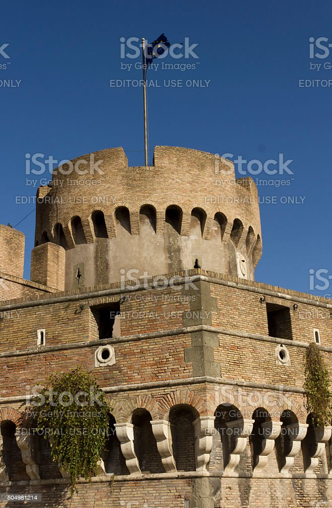 close up of Castel Sant'Angelo tower stock photo