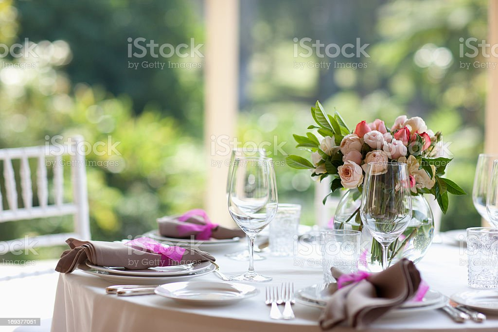 Close up of centerpiece at wedding reception stock photo