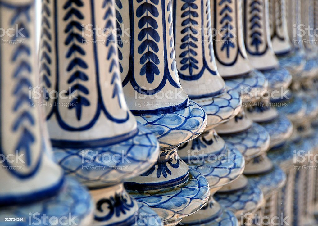 Close up of ceramic bannisters, Plaze de Espana, Sevilla stock photo
