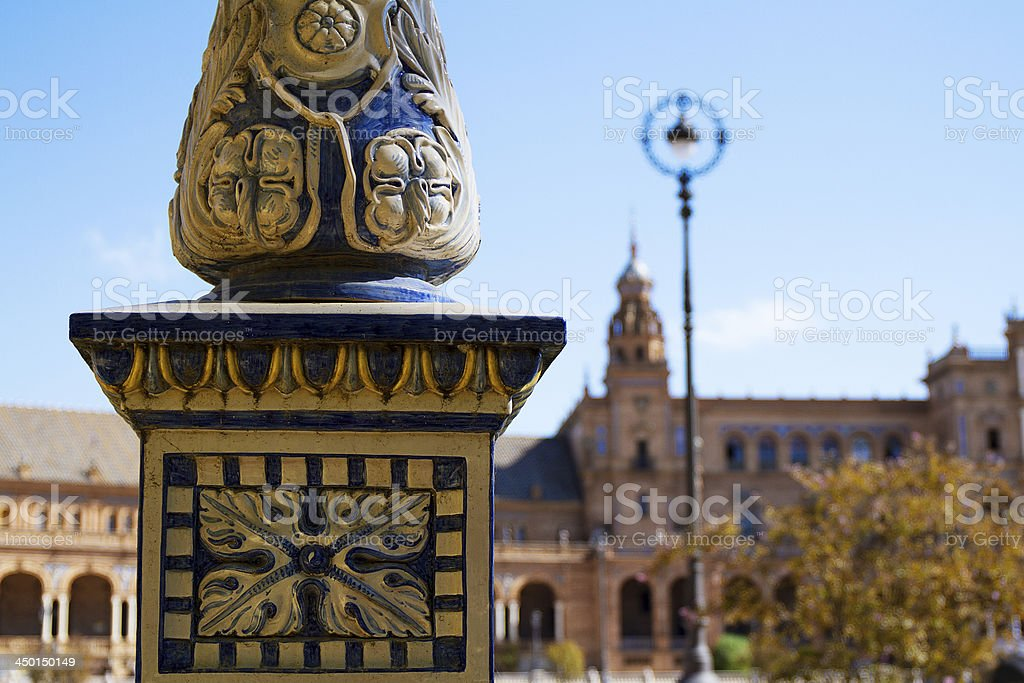 Close up of ceramic lamp post. Spain square in Seville royalty-free stock photo