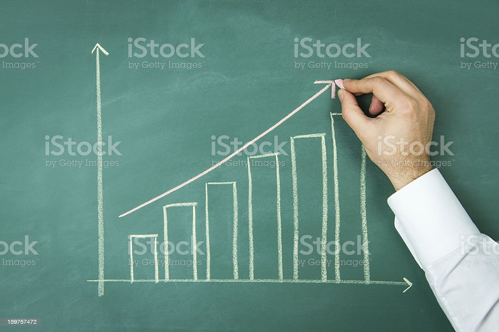 Close up of Chalkboard with Finance Business Graph stock photo