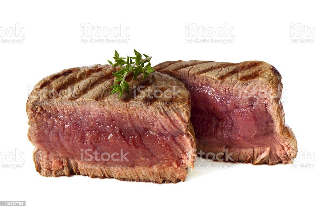 Close up of char grilled medium rare filet mignon stock photo