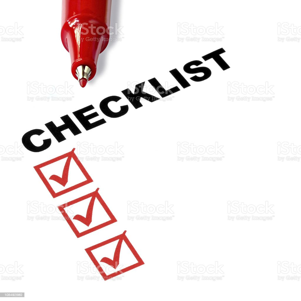 Close up of checklist with red boxes and red pen royalty-free stock photo