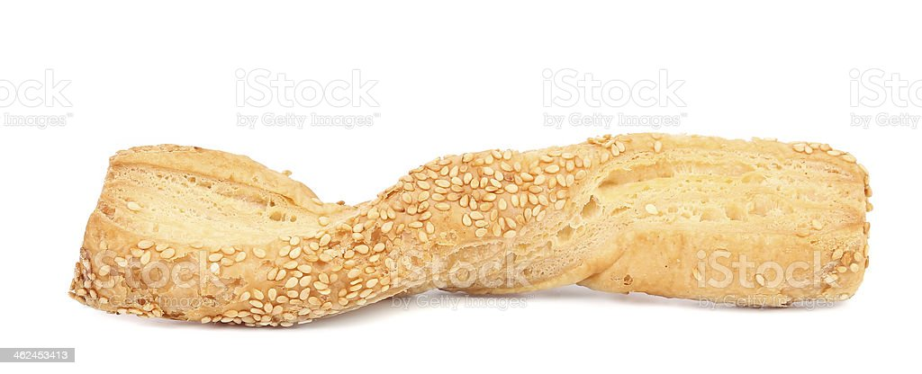 Close up of cheese sticks with seeds. stock photo