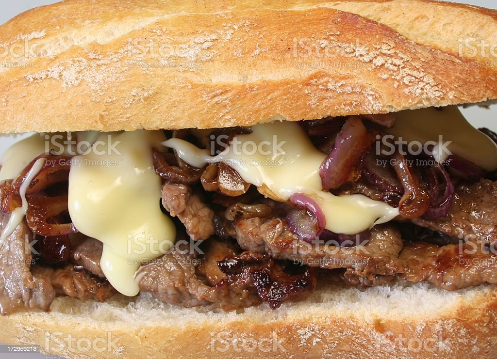 Close up of cheesesteak sandwich royalty-free stock photo