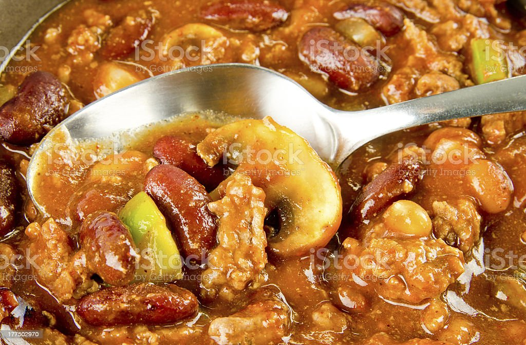 Close up of Chili Con Carne stock photo