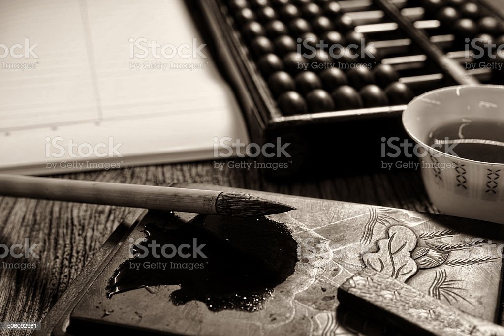 Close up of chinese old shop, focus on the calligraphy stock photo