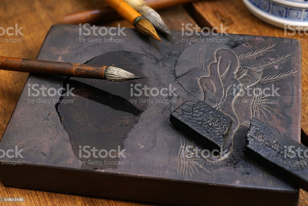 Close up of Chinese Writing Brush stock photo