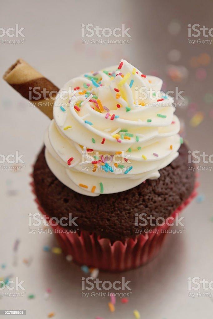 Close up of chocolate sundae cupcake stock photo
