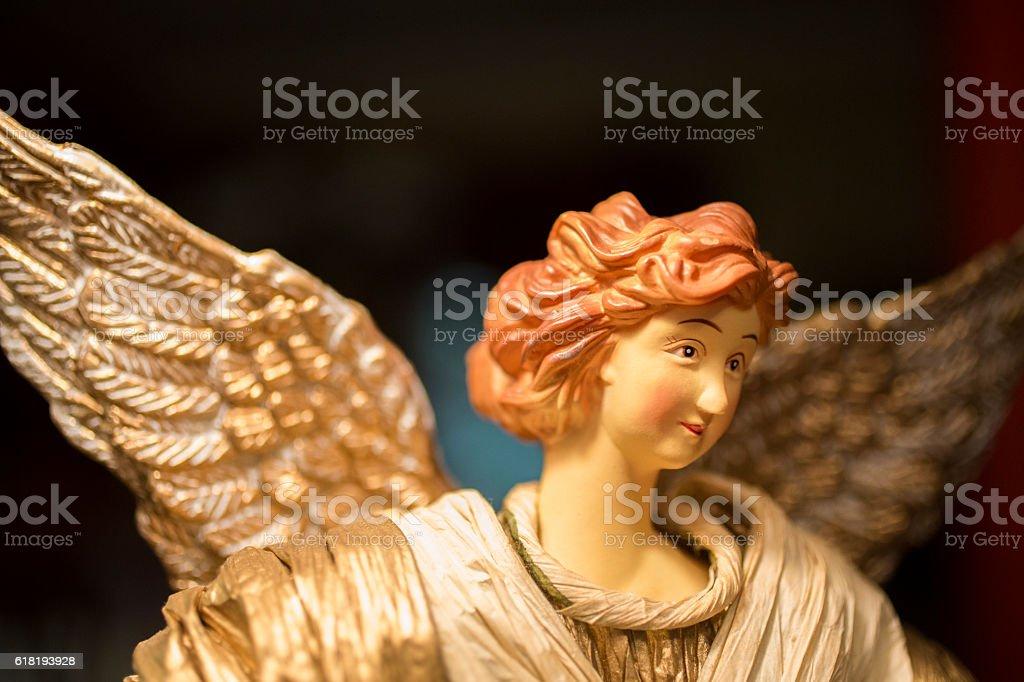 Close up of Christmas angel figurine. stock photo