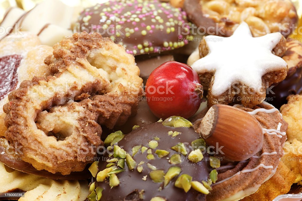 close up of Christmas cookies stock photo