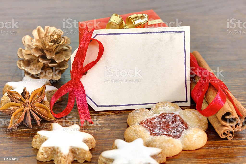 close up of Christmas cookies with greeting card stock photo
