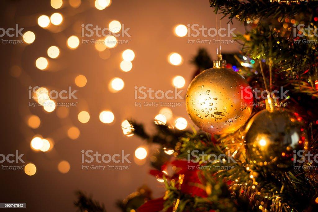 close up of christmas tree ornament ball decoration stock photo