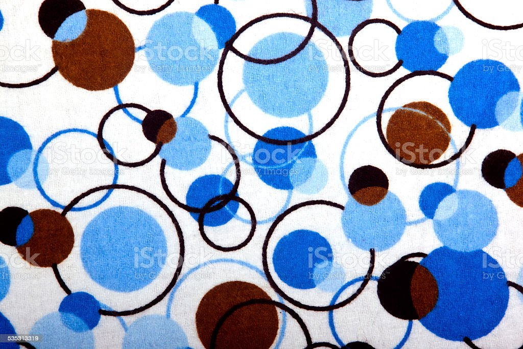 Close up of Circular Patterns on Flannelet Baby Blanket stock photo