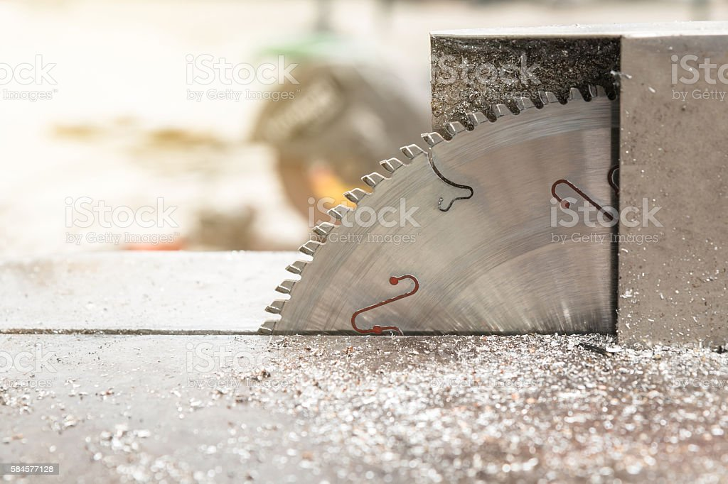 Close up of Circular steel saw blade stock photo