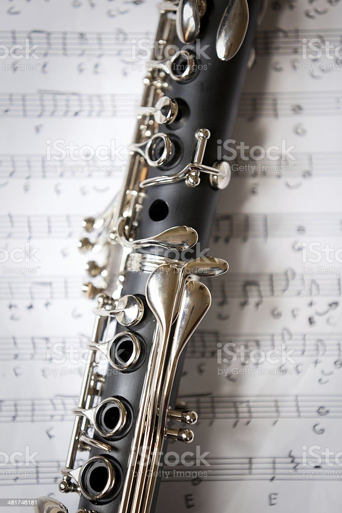 Close Up Of Clarinet On Sheet Music stock photo