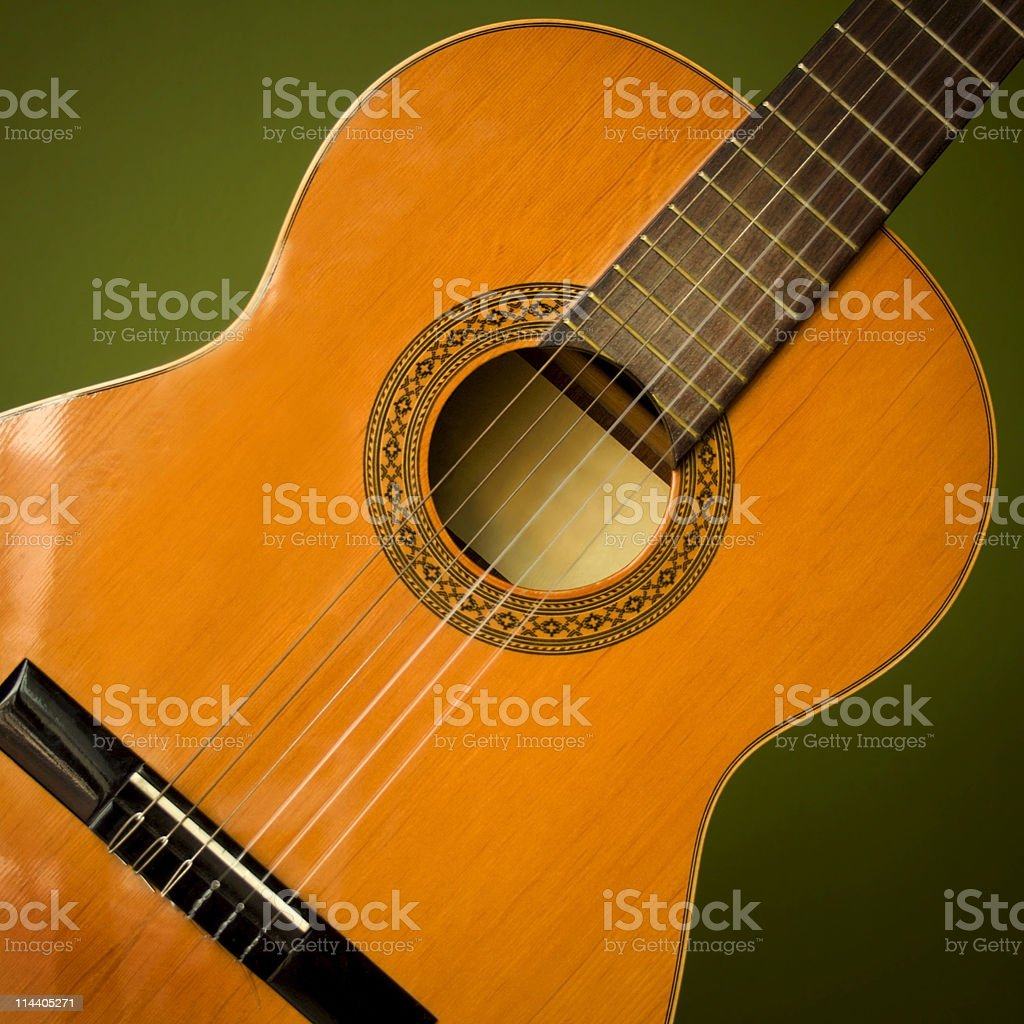 Close up of classic acoustic guitar royalty-free stock photo