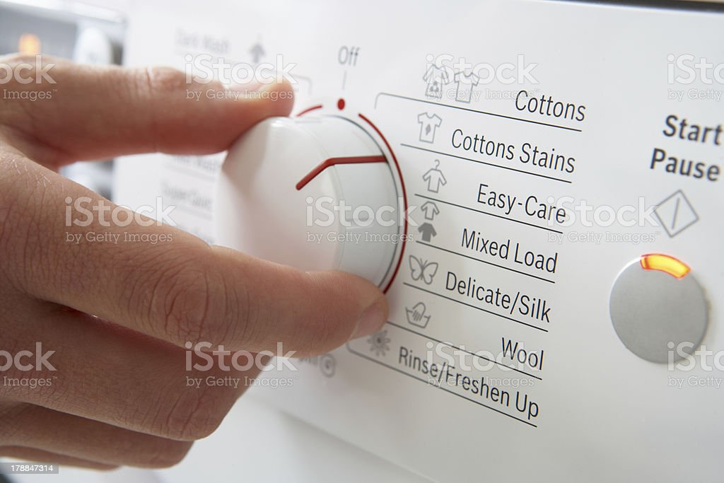 Close up of clothes washer dial stock photo