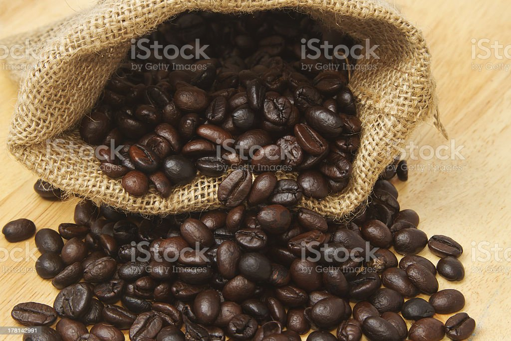 Close up of coffee Beans in a Bag royalty-free stock photo