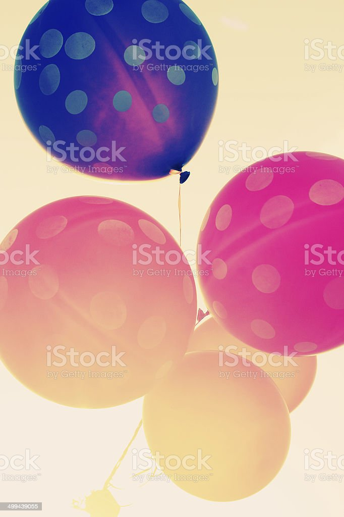 close up of colorful balloons stock photo