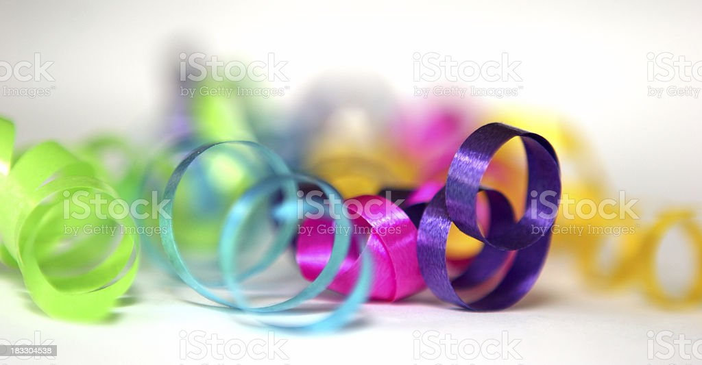 Close up of colorful curled ribbons royalty-free stock photo