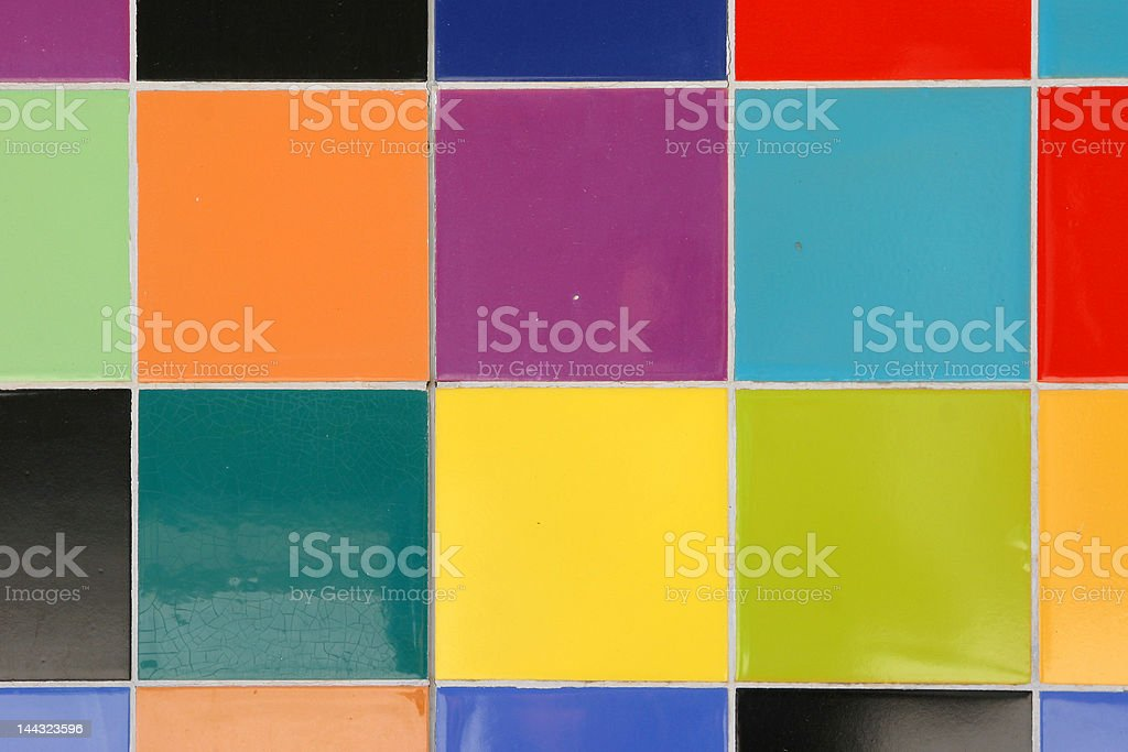 close up of colorful mosaic tiles pattern on a wall royalty-free stock photo