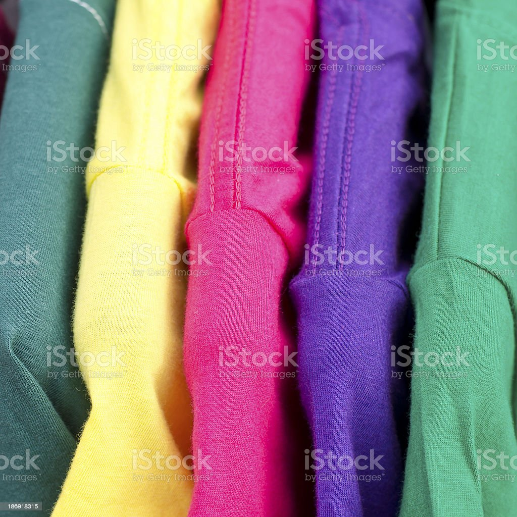 close up of colorful t-shirt royalty-free stock photo