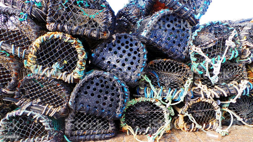Close up of colourful lobster pots. Nautical background texture. stock photo