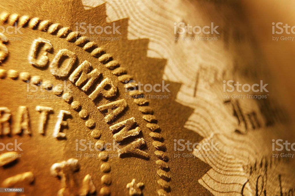 Close up of company seal on old stock certificate royalty-free stock photo
