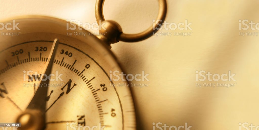 Close Up Of Compass Face On Warmly Lit Surface royalty-free stock photo